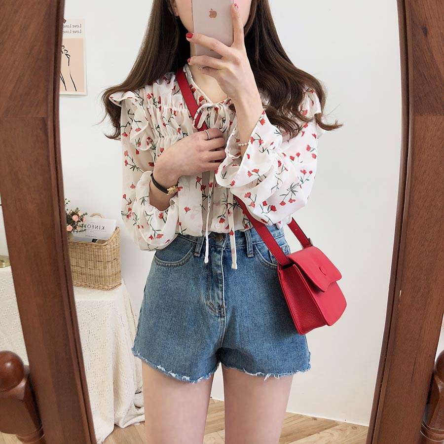 He4949890e3f64a89860c99321d3ce81el - Spring / Autumn Lace-Up Collar Long Sleeves Floral Print Blouse