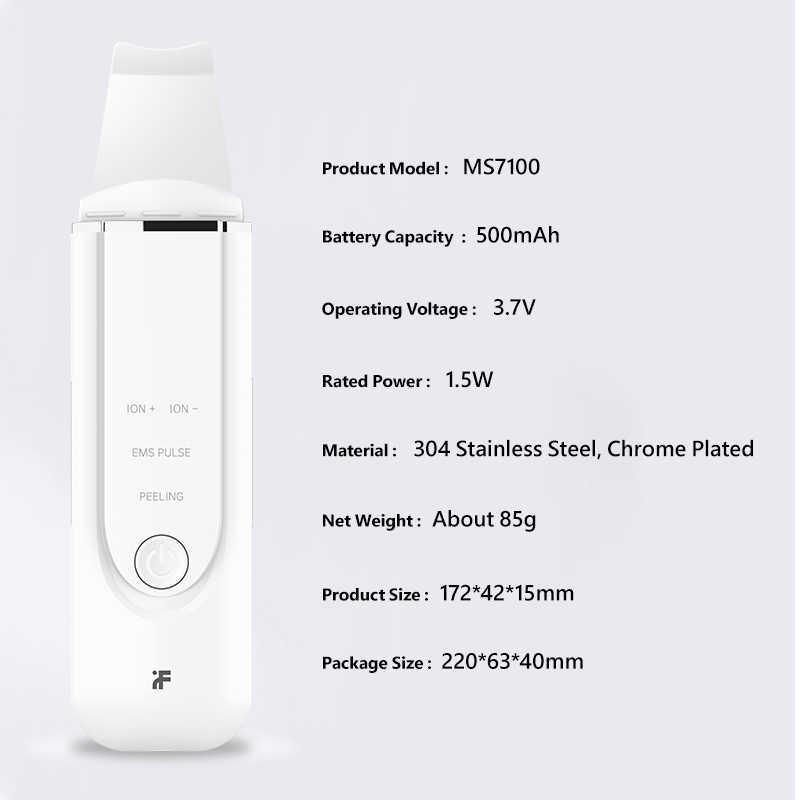 InFace Ultrasonic Ion ทำความสะอาดนวดผิว Scrubber Peeling Shovel Facial Pore Cleaner เครื่อง Xiaomi Supply Chain