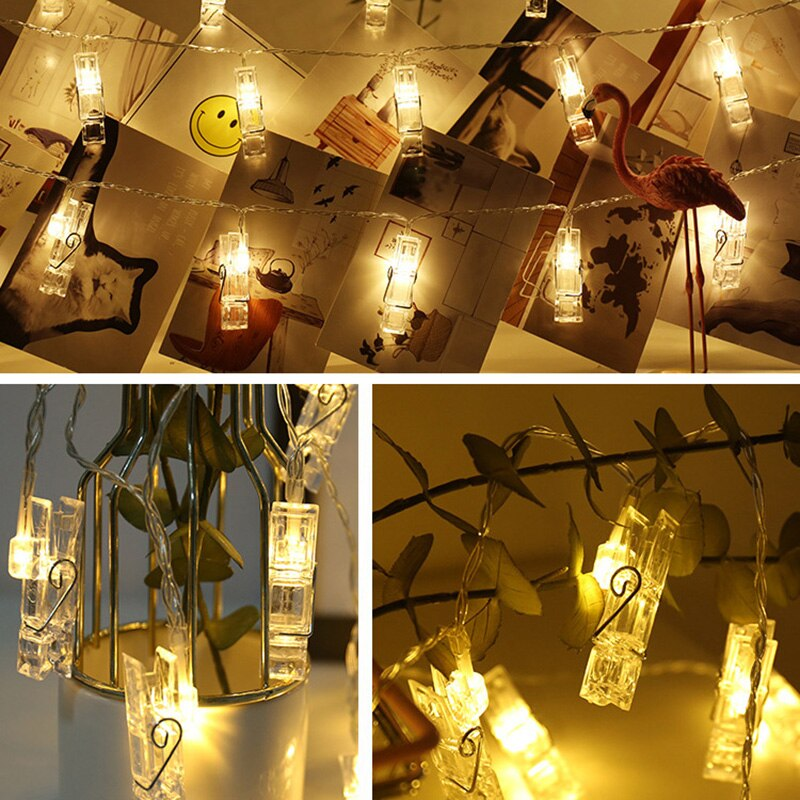 ChicSoleil 10/20/30/40/50 LED Garland Card Photo Clip Led String Fairy Lights Battery Operated Christmas New Year Decoration