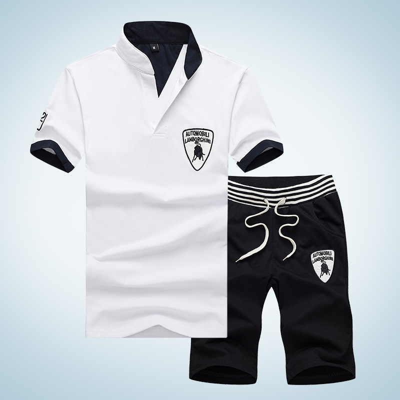 Cross Border For Men Korean-style Leisure Sports Suit Men's Summer Short-sleeved Shorts Teenager Two-Piece Set Men'S Wear