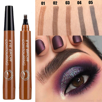 5 Colors 3D Magic Microblading Eyebrow Pencil Makeup Tool Tint 4 Tip Liquid Brow Tattoo Pen Waterproof Cosmetic Eyebrow Liner 1