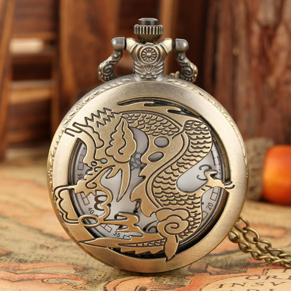 Classic China Style Vintage Pocket Watch Men Women Carved Zodiac Dragon Analog Quartz Pocket Watch With Necklace Chain Gifts