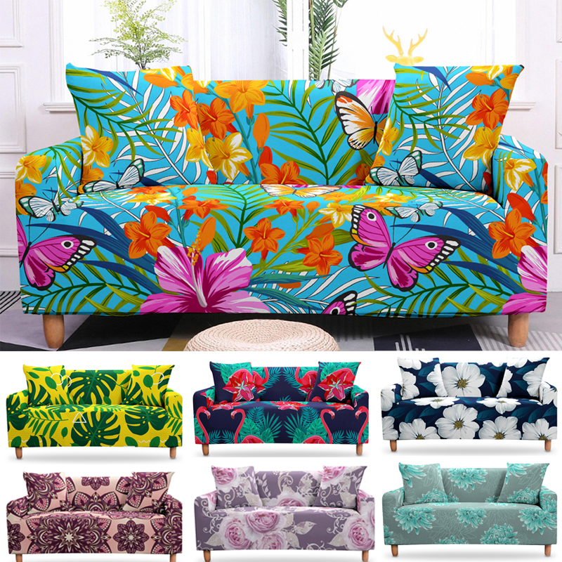 Stretch Tropical Leaves Sofa Cover Butterfly  Flower Elastic Armchair  Home Living Slipcovers For 1/2/3/4 Seaters Couch Cover