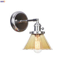IWHD Nordic Style LED Wall Lamp Switch Bedroom Mirror Stair Light Amber Glass Metal Modern Wall Sconce Wandlamp Home Lighting rushed luminaire double head wood wall lights bedroom lamps hallway wandlamp bed light nordic home lighting sconce lamp iy121786
