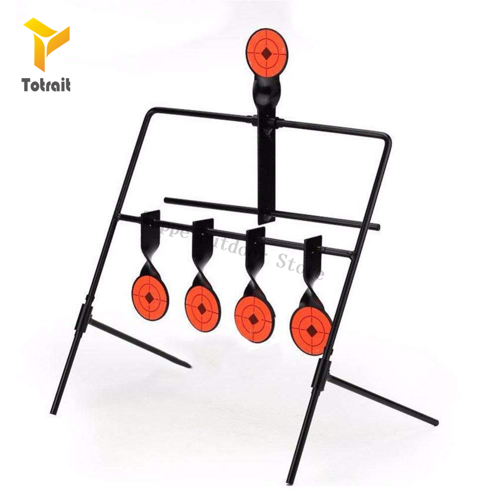TOtrait Target For Airgun Lead Pellet Gun Air Rifle Airsoft Paintball 5 Targets Automatic Reset Rotating Shooting Target