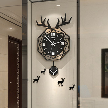 Nordic Deer Large Wall Clock Living Room Modern Minimalist Creative Light Luxury Red Table Fashion Home Decor Wall Watch Clocks