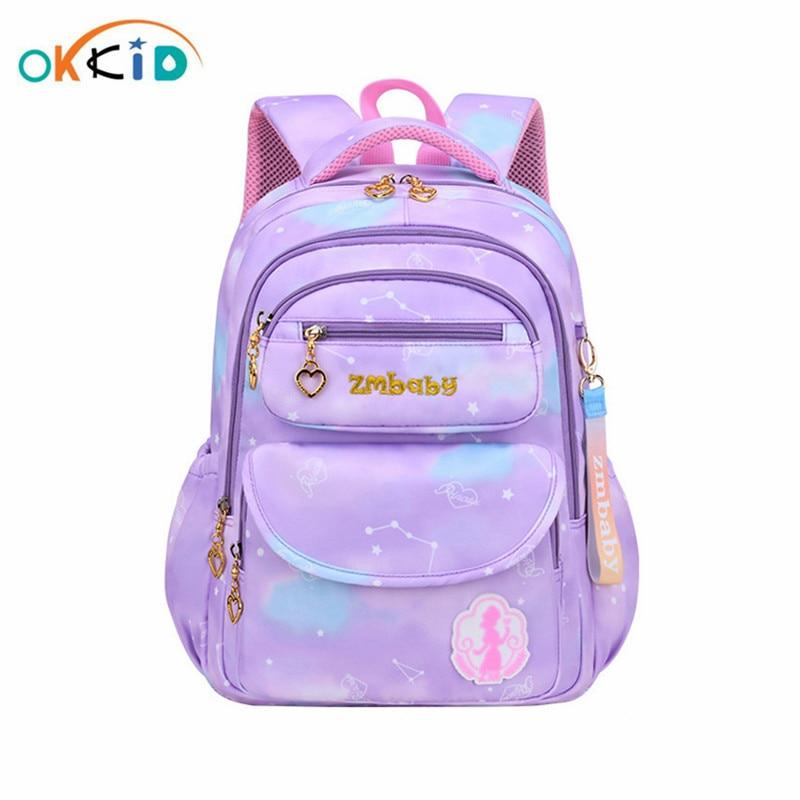 OKKID Cute girls school bags purple bookbag primary school backpacks for children backbag Christmas