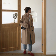 Autumn Winter Women's Coat Khaki Belt Long Trench Turn-Down Collar Double Breast