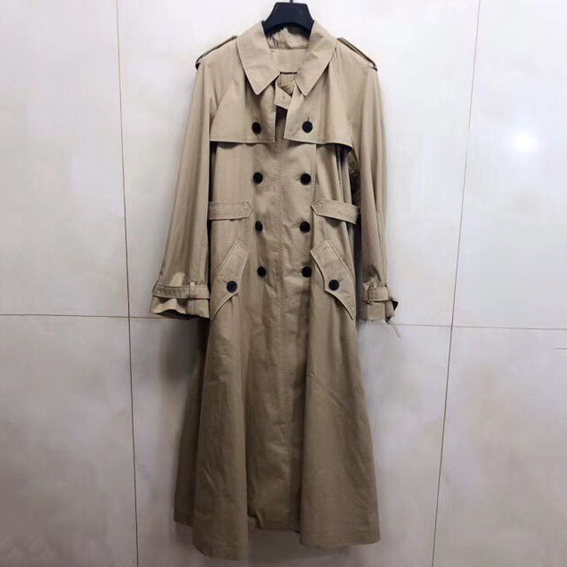 New Fashion   Trench   Coat Women Double Breasted Long   Trench   Coat Women Solid Slim Cloak Windbreaker Female
