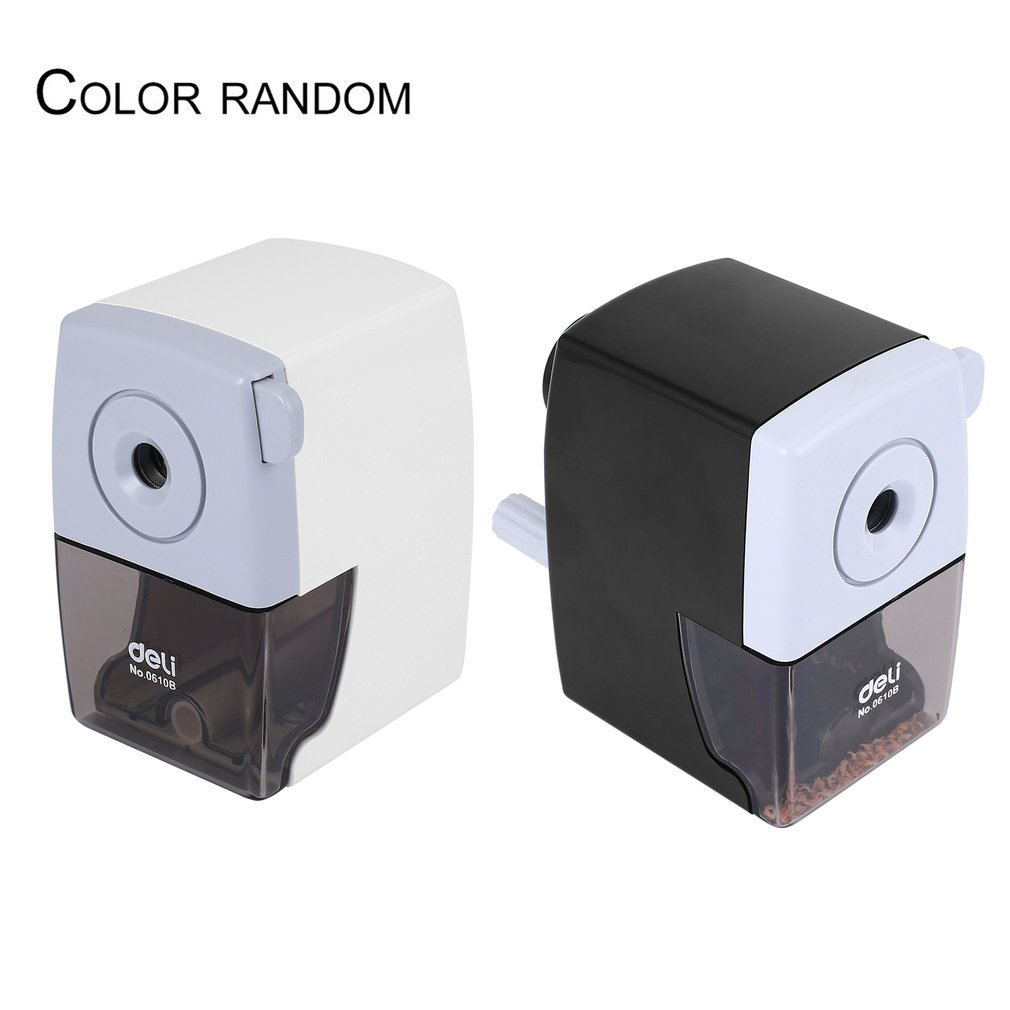Deli Metal Pencil Sharpeners For Student Office Hand Crank White And Black Pencil Cutting Machine Stationery Gift 0610B