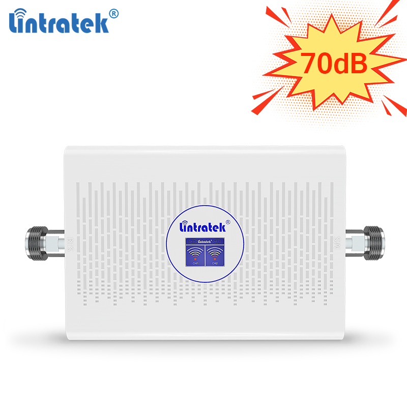 Lintratek AGC 70dB 3G 4G Signal Booster 1800 2100 Signal Repeater GSM 2G 3G Booster 900 2100 Amplifier 2G 4G Repeater 900 1800
