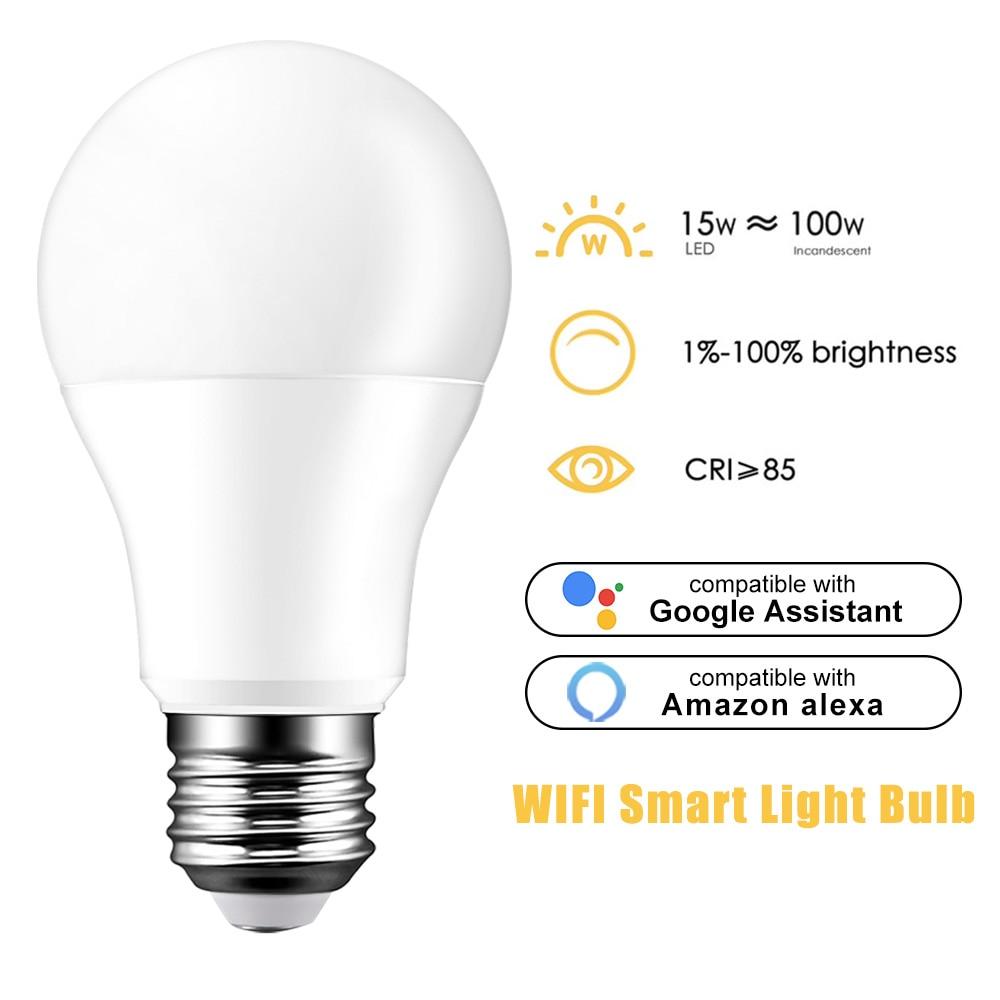 E27 Smart WiFi светильник лампочка 15 Вт светильник лампочка B22 E14 регулируемой яркостью лампы голосовой Управление лампы совместимы с Alexa и Google ...