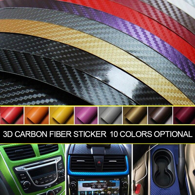127*10 Cm 3D Carbon Fiber Car Body Color Film Automotive Car Interior Modeling Decoration Stickers Auto Products Car Accessories