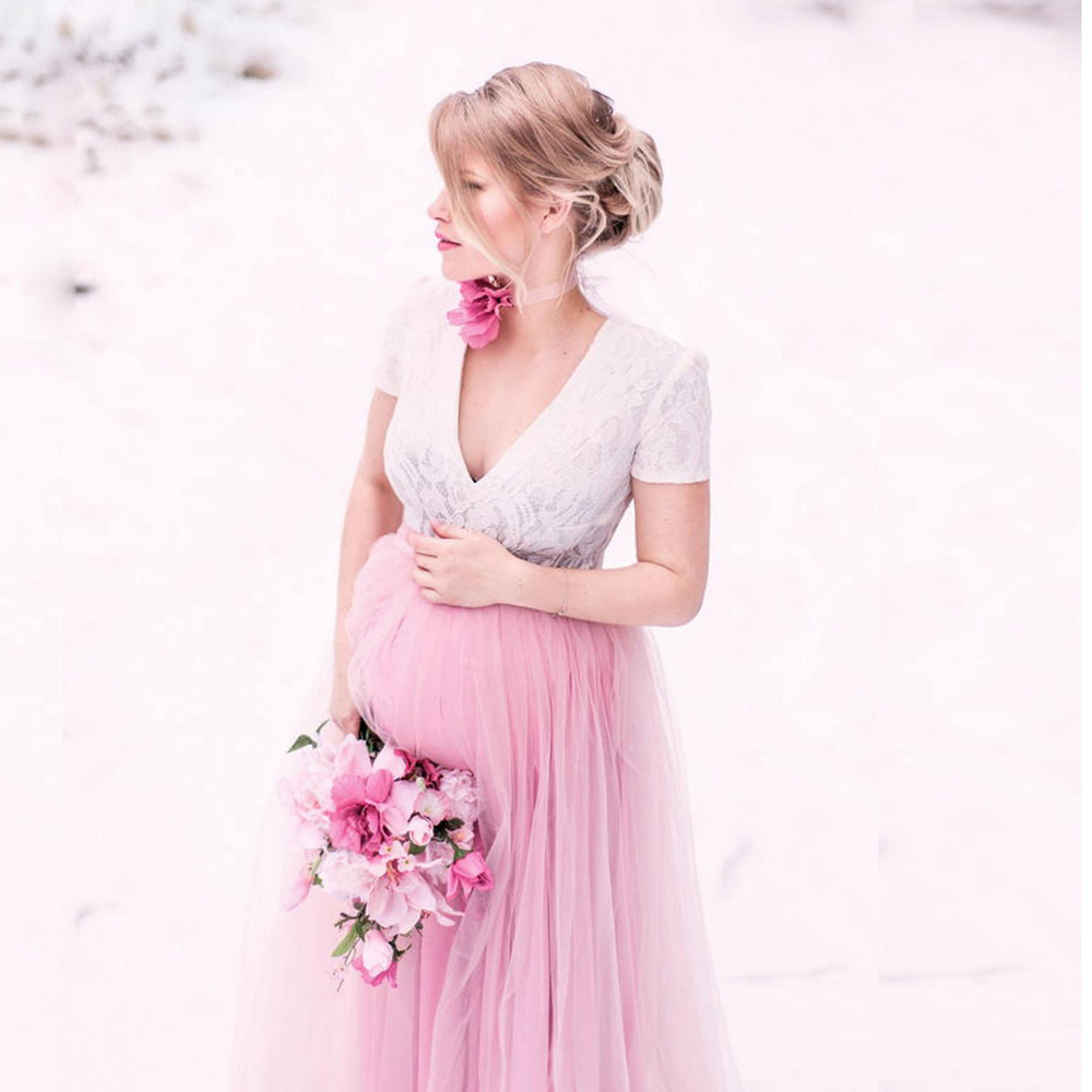 New Lace Maternity Photography Props Long Dress Cute Pregnancy Dresses Mesh Pregnant Women Maxi Gown For Baby Shower Photo Shoot (5)