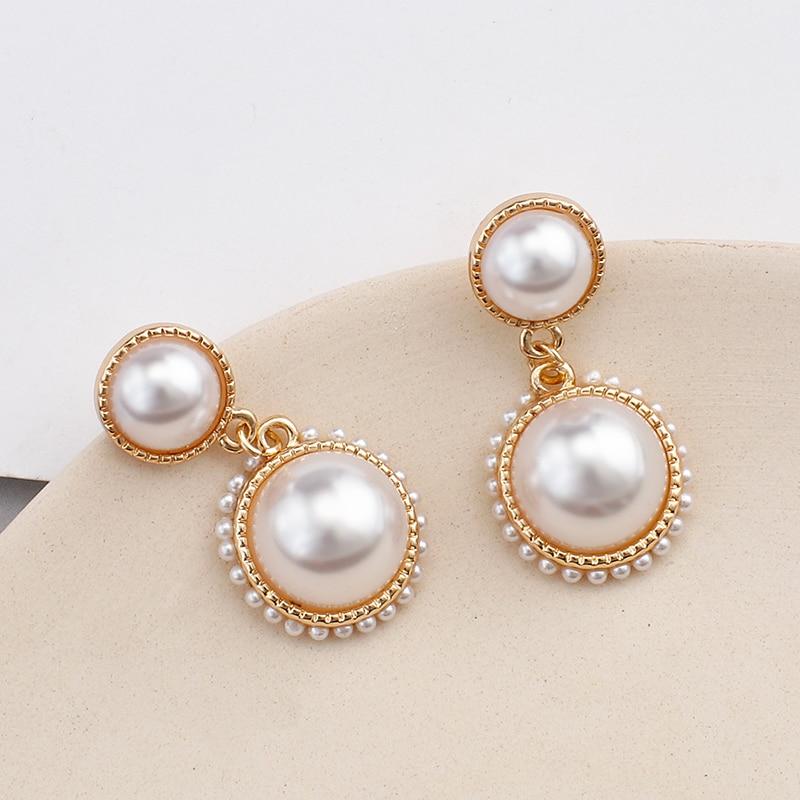 AENSOA 2020 New Trendy Korean Simulated Pearl Small Drop Earrings For Women Fashion Cute Sweet Drop Earrings Jewelry Pendientes