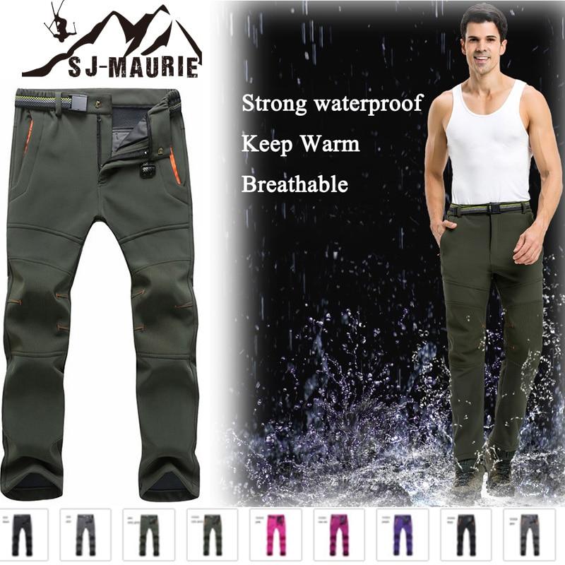 Men/'s Outdoor Sport Trousers Softshell Hiking Fleece Climbing Pants Waterproof