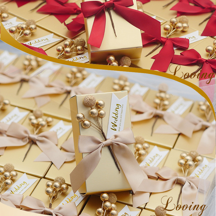 50 Pcs Only Gold Box Candy Box Wedding Favors Gifts Boxes Bags Rectangle  Gold Boxes