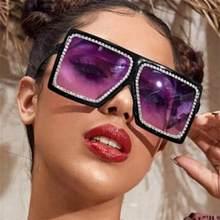 Chaîne strass grand carré lunettes de soleil femmes mode luxe lunettes surdimensionnées noir violet 2020 nuances Sexy lunettes UV400