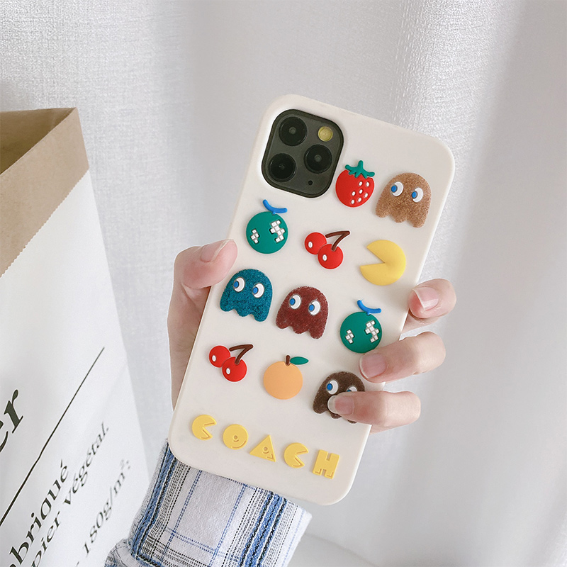 3D Cartoon Cute Pac-Man Gameboy Cherry Phone Case For Iphone 12 Mini 11 Pro Max XR XS Max 6 7 8 Plus SE 2020 Soft Silicone Cover