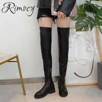 Rimocy Plus Size 43 Women Thigh High Boots Slip on PU Leather Over The Knee Boots Female Fashion Autumn Winter Woman Shoes Black