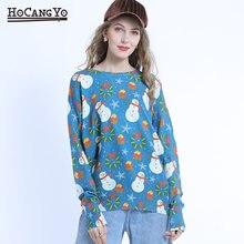 Рождественский свитер женская зимняя одежда с принтом снеговика