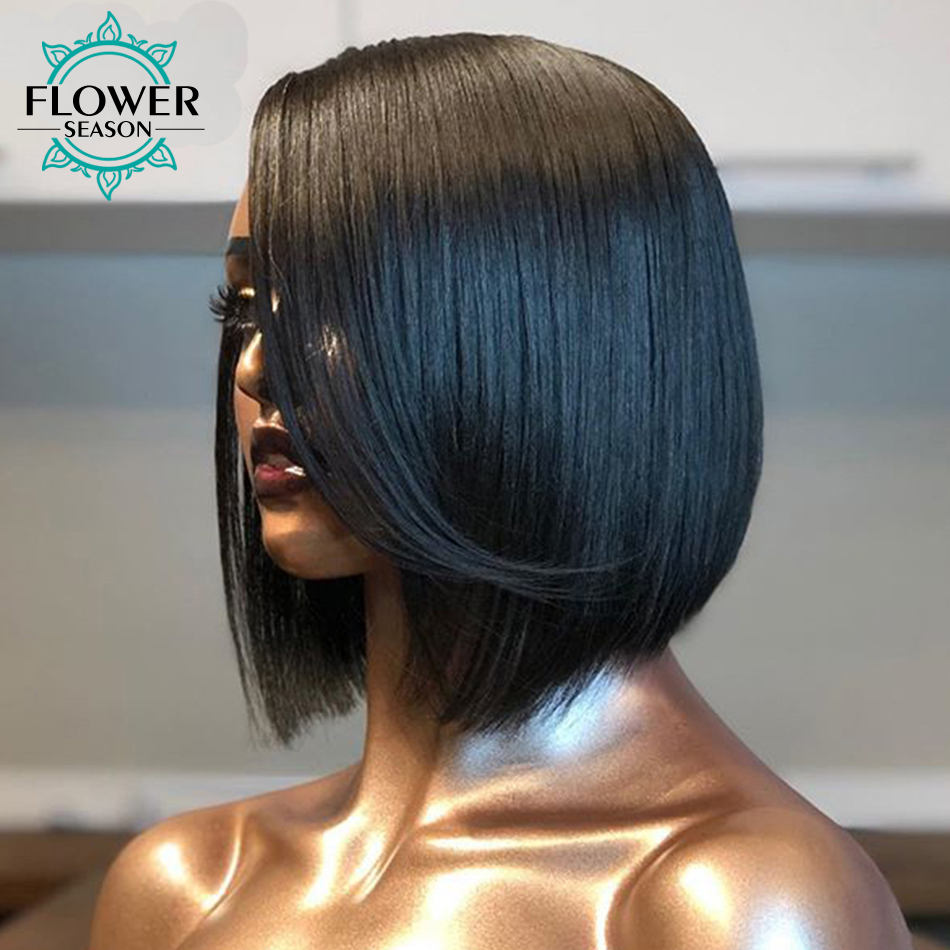 13x6 Deep Part Short Lace Front Human Hair Wigs Side Part Bob Wig Pre Plucked Remy Brazilian With Baby Hair FlowerSeason