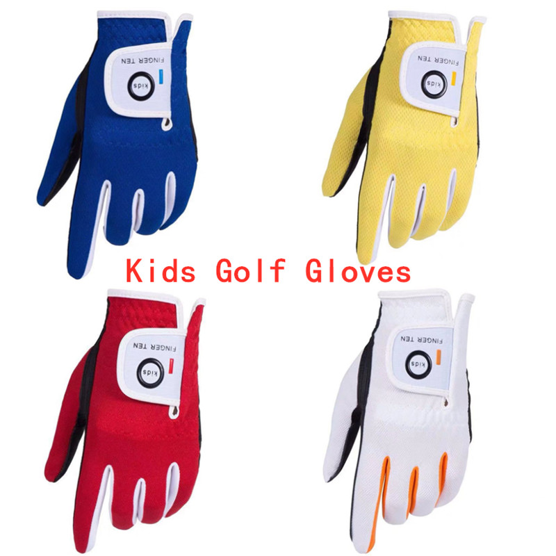 Golf-Gloves Left-Hand Children Soft Right Junior 2-Pack-Set Rain-Grip Wet Age Breathable title=