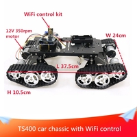 With WiFi/PS2 Hnadle Control Kit TS400 4WD Robot Tank Chassis Kit UNO Board+Motor Driver Board+12V DC Motor DIY RC Toy
