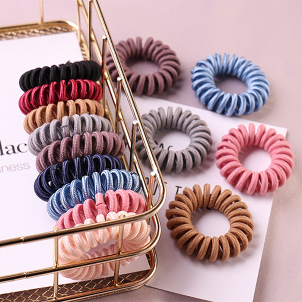 1Pcs Telephone Wire Line Cord Striped Cloth Hair Ring Elastic Hair Band Girl's Hair Scrunchy Accessories For Women Spiral