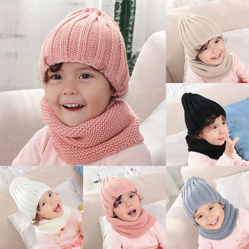 2019 Baby Hat Scarf Set Autumn Winter Knitted Wool Solid Boys Girls Hat Children Hat And Snood For Girls Kids Hat 0-3 Years Old