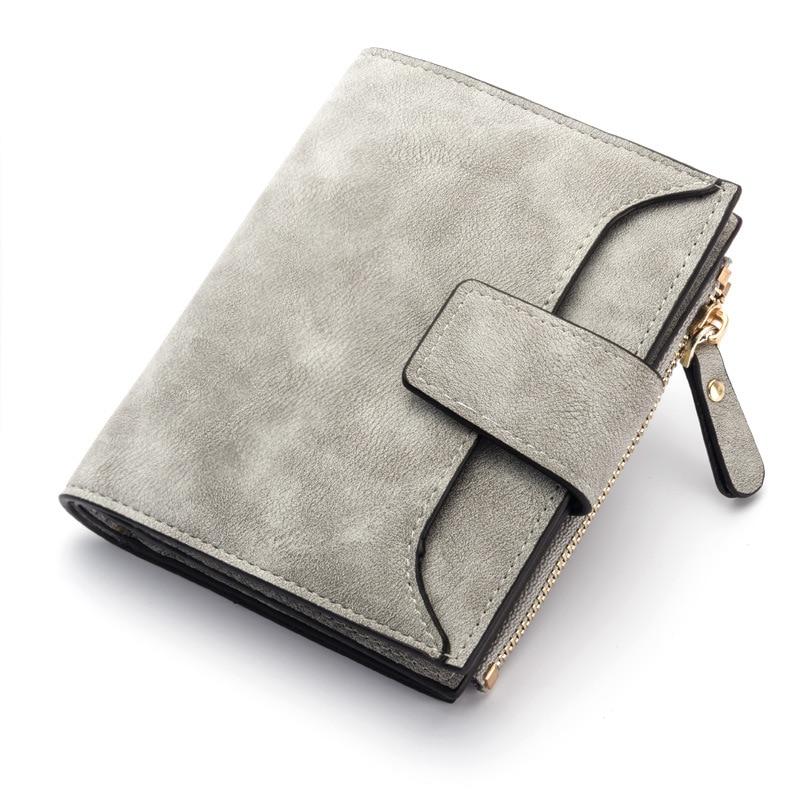 Кожаный женский кошелек маленький и тонкий кошелек с отделением для монет женские кошельки с отделением для карт Роскошные брендовые кошельки дизайнерский кошелек - Цвет: Gray