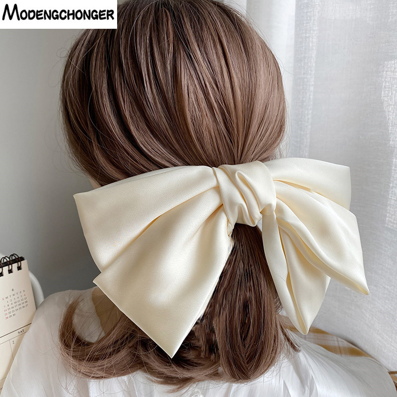 High Quatity Solid Color Big Bow Hairpins For Girl Popular Hair Clip For Women Sweet Two-layer Satin Hairgrip Hair Accessories