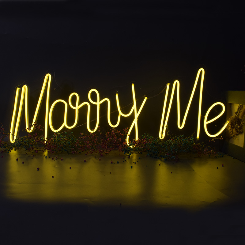 Waterproof Custom Neon Sign Light Logo Marry Me Led Flex Transparent Acrylic Letter Board Party Background Decor Wedding Yellow image