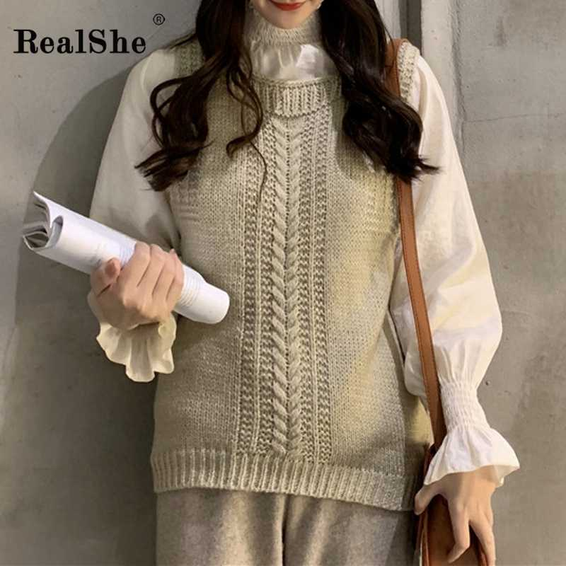 RealShe Women Shrug O-neck Sleeveless Solid Sweater Woman Pullover 2020 Spring Casual Elegant Knitted Sweaters Ladies Tops