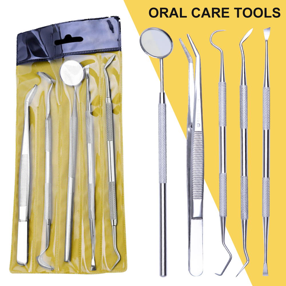 3/4/5PCS  Stainless Steel Dental Mirror Dental Tool Set With Bag Mouth Mirror Kit Instrument Oral Care Dentist Prepare Tool