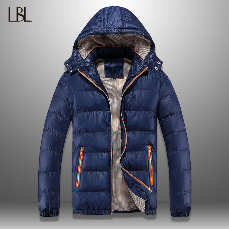 Winter Men's Coats Warm Thick Men's Jackets Cotton Padded Casual Hooded Parkas Men Overcoats Hat Detachable Mens Brand Clothing
