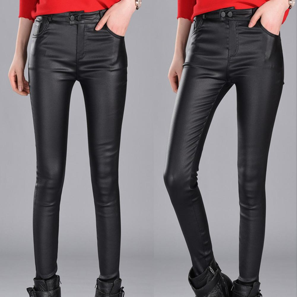 Fashion Women Stretchy High Waist Thin Hip Lifting Faux Leather Pencil Pants Jumpsuit Trousers