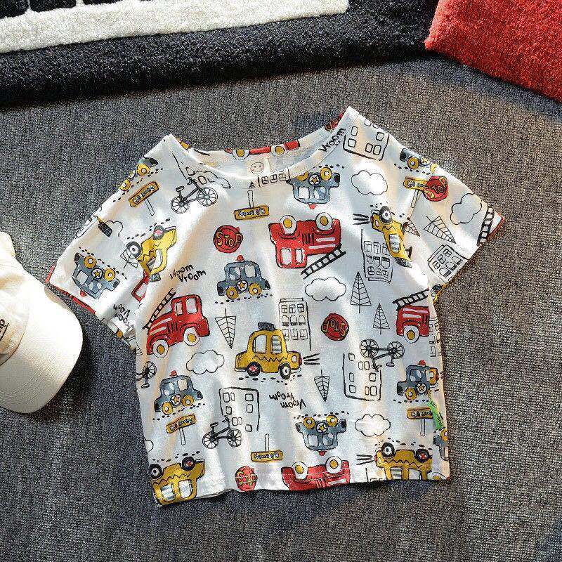 VIDMID Summer New Men's Clothes Children's Boys' Top Cartoon Car Pure Cotton Short Sleeve Casual Round Neck T-shirt P107 5