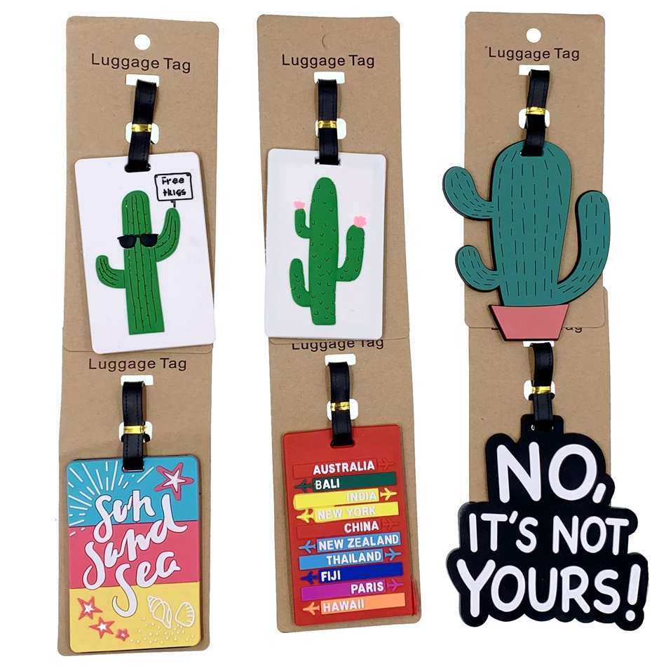 Creative Plant Cactus Luggage Tags Travel Accessories Silica Gel Suitcase ID Addres Baggage Boarding Holder Women Portable Label
