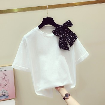 White Cotton T shirt Women Summer T-shirt New Korean-Style Shoulder Polka Dot Scarf Bow Round Neck Short Sleeve T Ladies Tops polka dot ruffled longline t shirt
