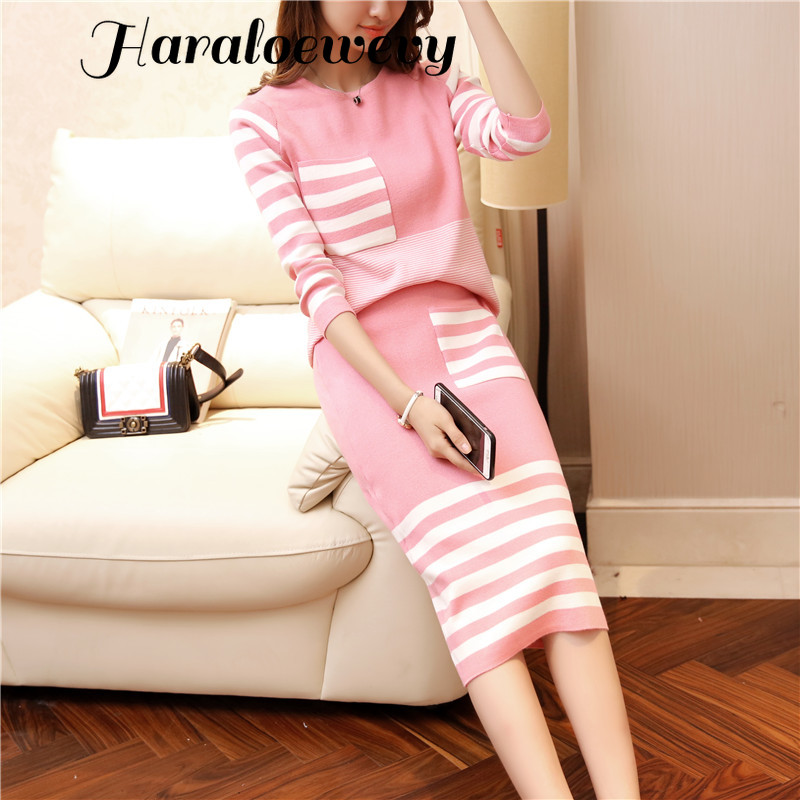 Knitted Striped 2 Piece Set Women Long Sleeve O-Neck Sweater + Elastic Waist Knitted Skirt Elegant Office Ladies Skirt Suit