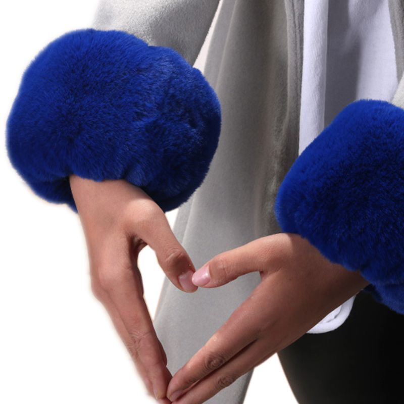 Womens Winter Fluffy Plush Short Wrist Fake Cuffs Ladies Solid Color Fuzzy Easti LX9E
