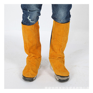 Image 2 - Cattlehide Welding Leather Long Shoes Boots Welding Fire Protection Foot Welder Foot Cover Wear Insulation Safety Work Shoes