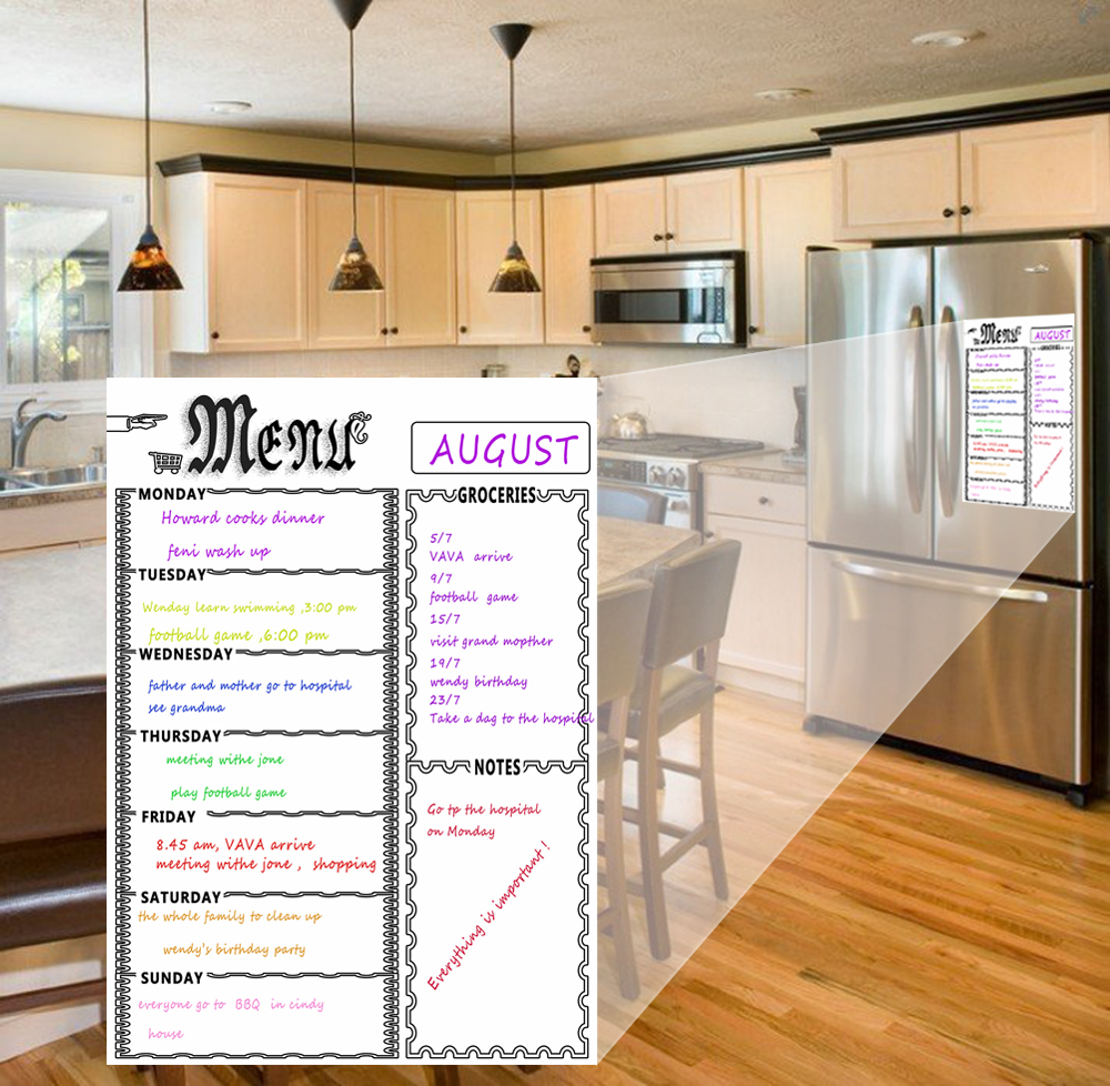 Image 5 - Dry Erase Weekly Calendar Magnetic White Board  Grocery List Organizer For Kitchen Refrigerator Whiteboard   Smart PlannersWhiteboard   -