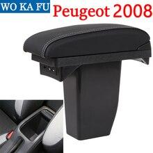 Подлокотник для Peugeot 2008, Универсальная автомобильная центральная консоль, аксессуары для модификации caja, двойной поднятый с USB, без сборки