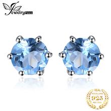 Genuine Natural Blue Topaz Earrings Solid 925 Sterling Silver Earrings Stud Classic Round 2016 Fashion Girl's Party Fine Jewelry