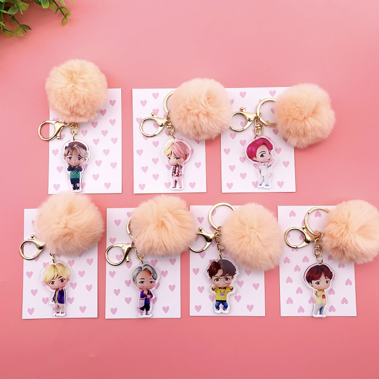Kpop Bangtan Boys Keychain Kawaii Plush Pendant Cute Cartoon Plush Ball Pendant Key Chain High Quality K-pop Bangtan Boys