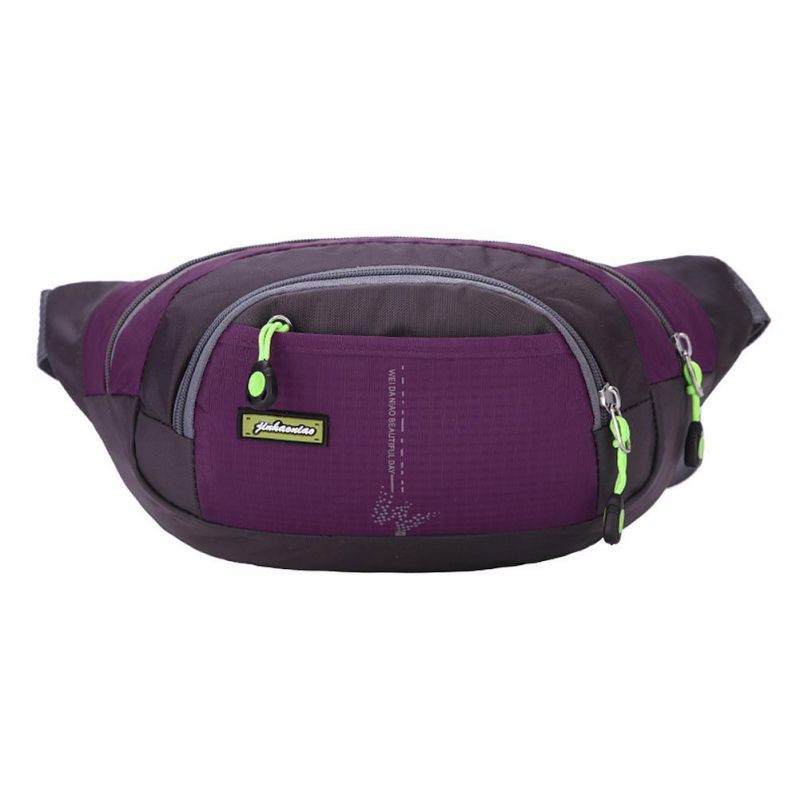 Women Outdoor Sports Waist Bag Large Capacity Multi Storage Bag For Running Hiking Purple Color
