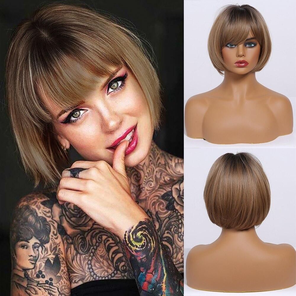 Krótkie proste Ombre brązowe syntetyczne blond peruki z Bangs dla kobiet bobo fryzura Cosplay żaroodporne naturalne włosy peruki