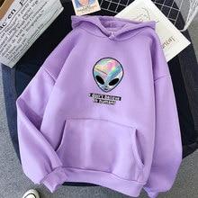 Oversized camisola feminina kawaii hoodies printi não acredito em humanos anime alienígena com capuz manga cheia pulôveres topos roupas